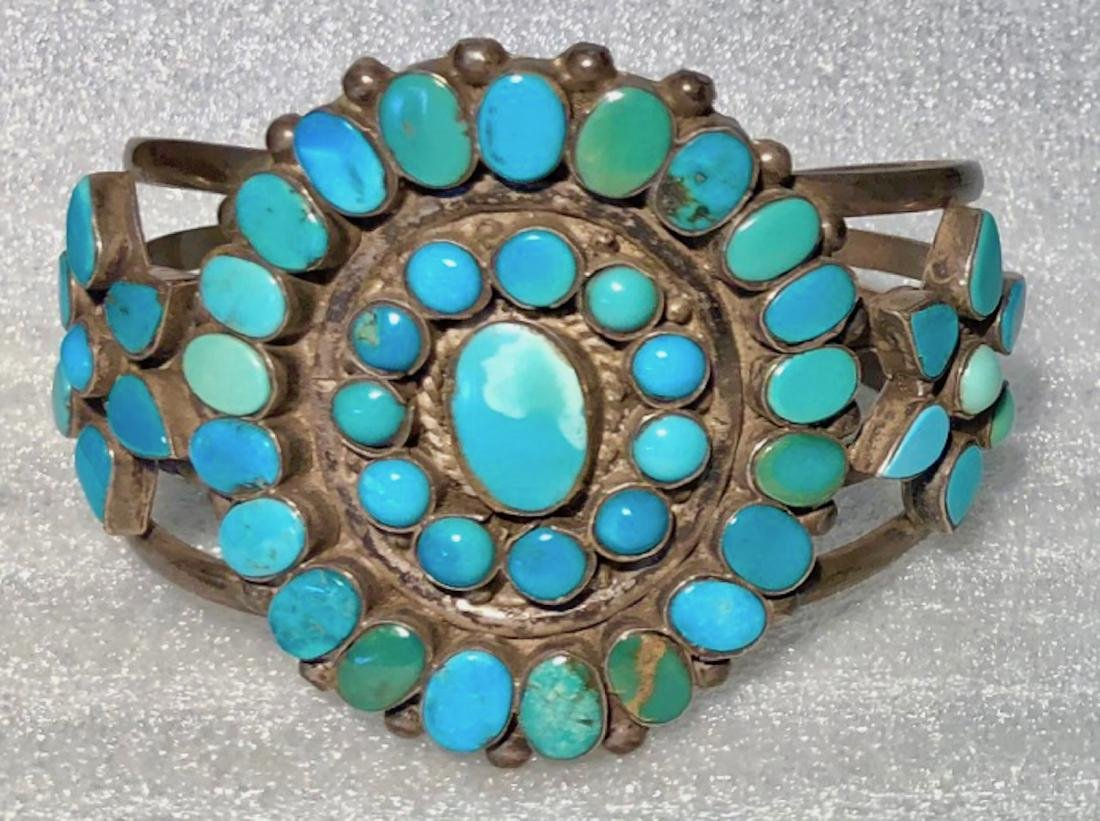 Antique Navajo Turquoise Sterling Silver Cuff Bracelet
