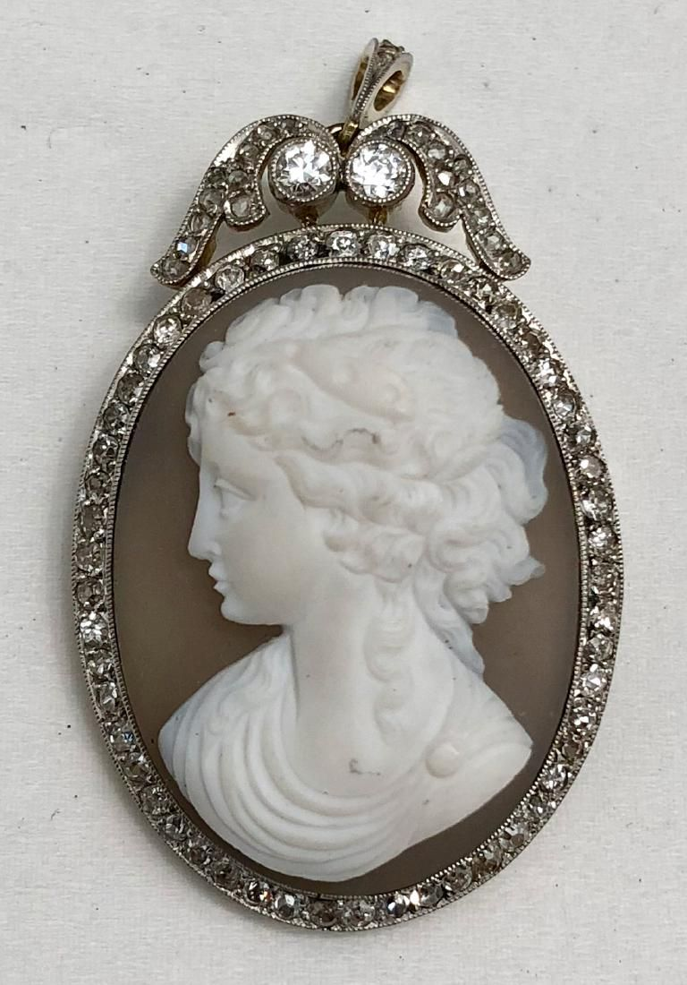 Antique Cameo White Gold Brooch Pendant With Diamonds