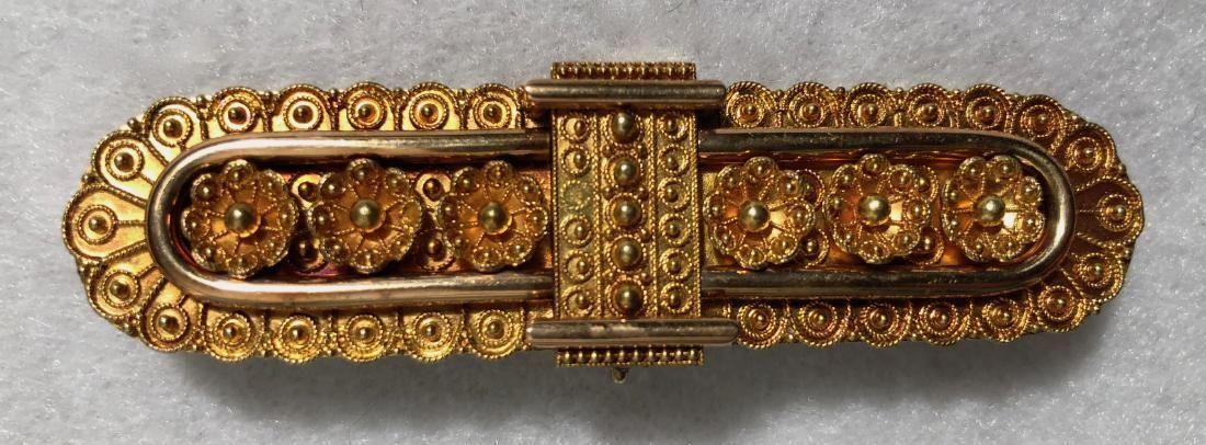 Victorian 10k Yellow Gold Bar Pin Brooch