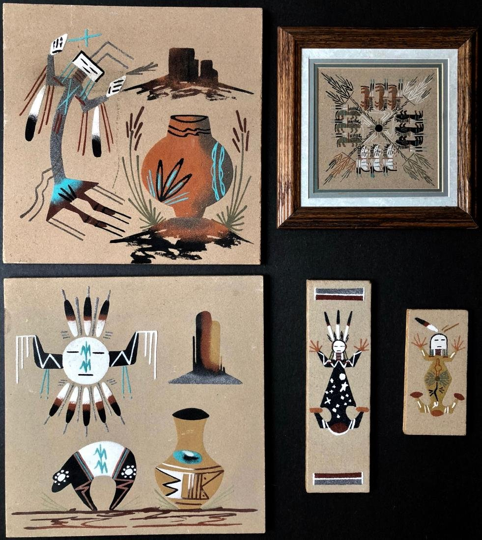 Navajo & Hopi Sand Paintings, Signed and Titled  (5)