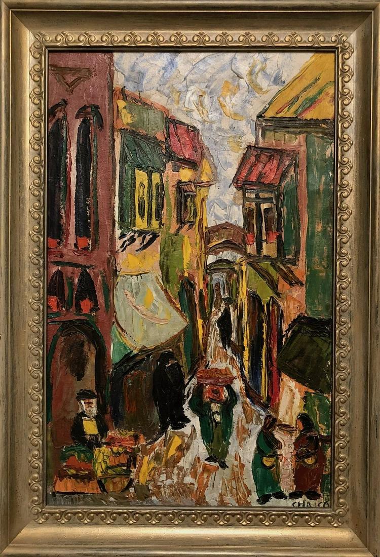 Expressionist Israeli Painting JERUSALEM STREET, Signed