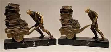 Art Deco Polychrome French Bronze Bookends JBHirsch