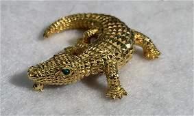 18k AlligatorCrocodile Brooch Pin W Emerald Eyes
