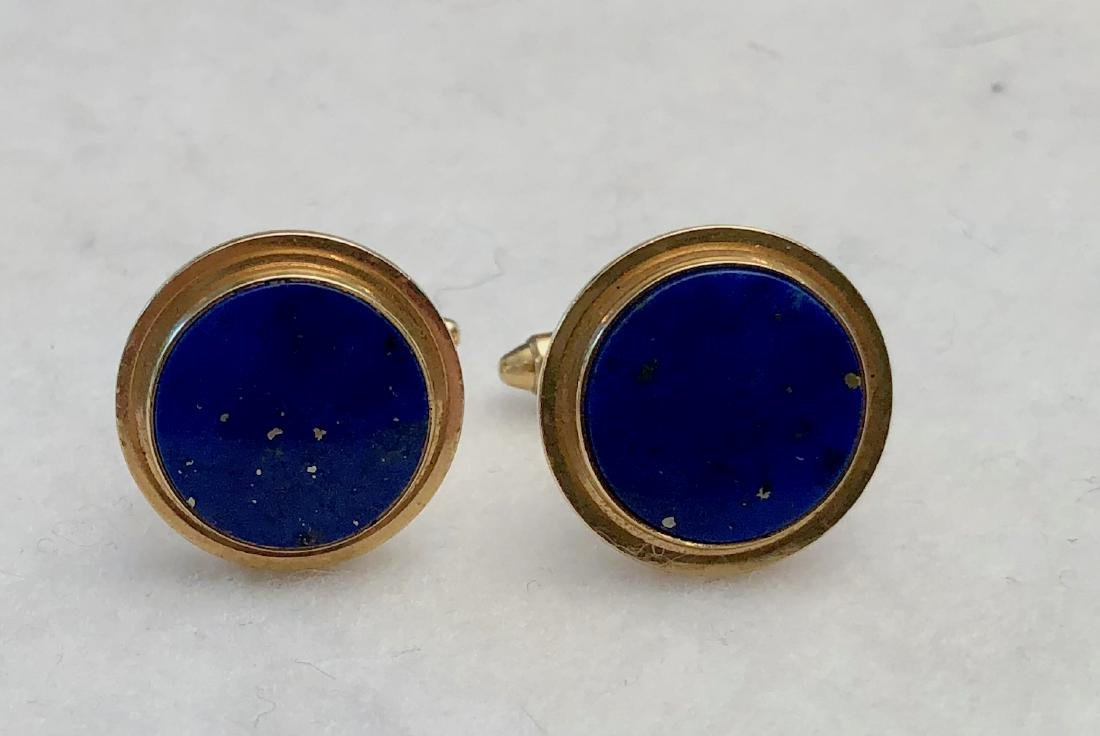 14k Yellow Gold Cufflinks With Lapis Lazuli  K.L.