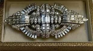 Art Deco Diamond Double-Clip Brooch Set In Platinum