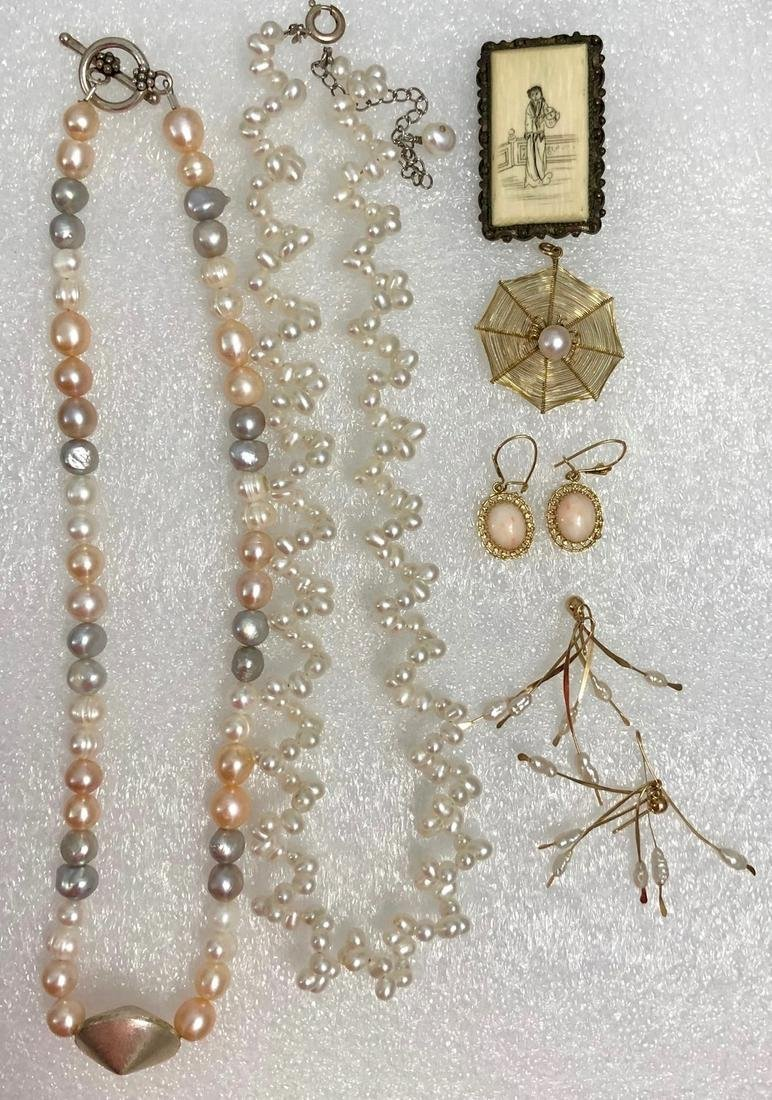 Gold, Pearls, Bone, Coral: Necklaces Earrings & Pendant