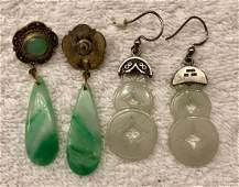 Two Pairs of White and Green Jade Dangle Earrings