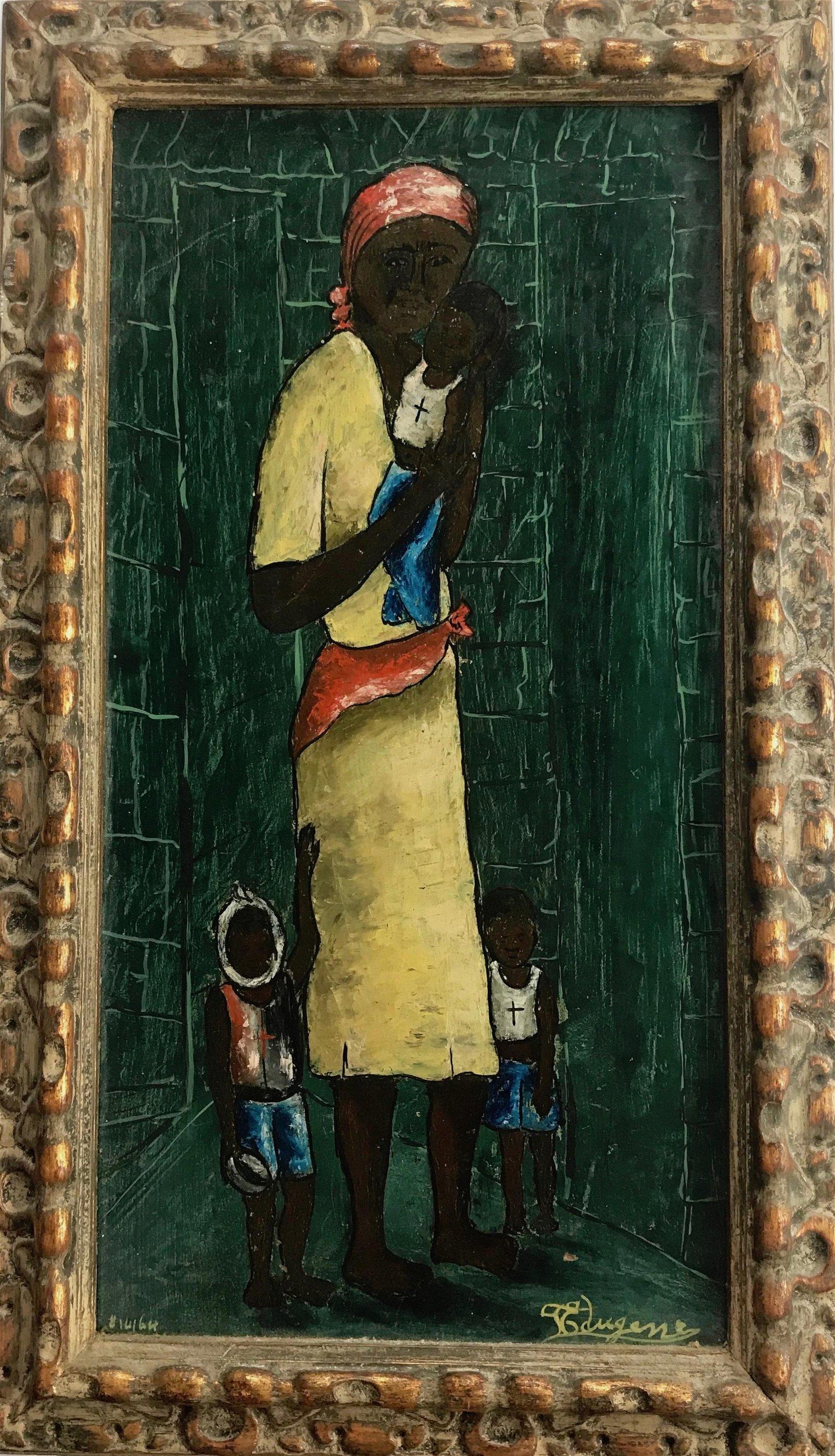 Pierre Edugene Haitian Folk Art Painting 1960s