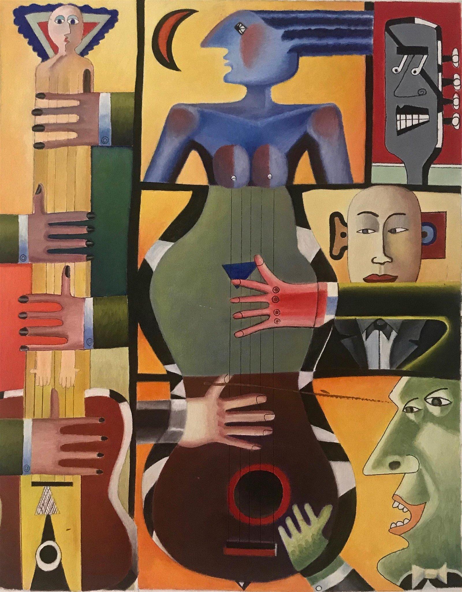 Modern Cubist Abstract Pop Art Oil Painting, 1960s