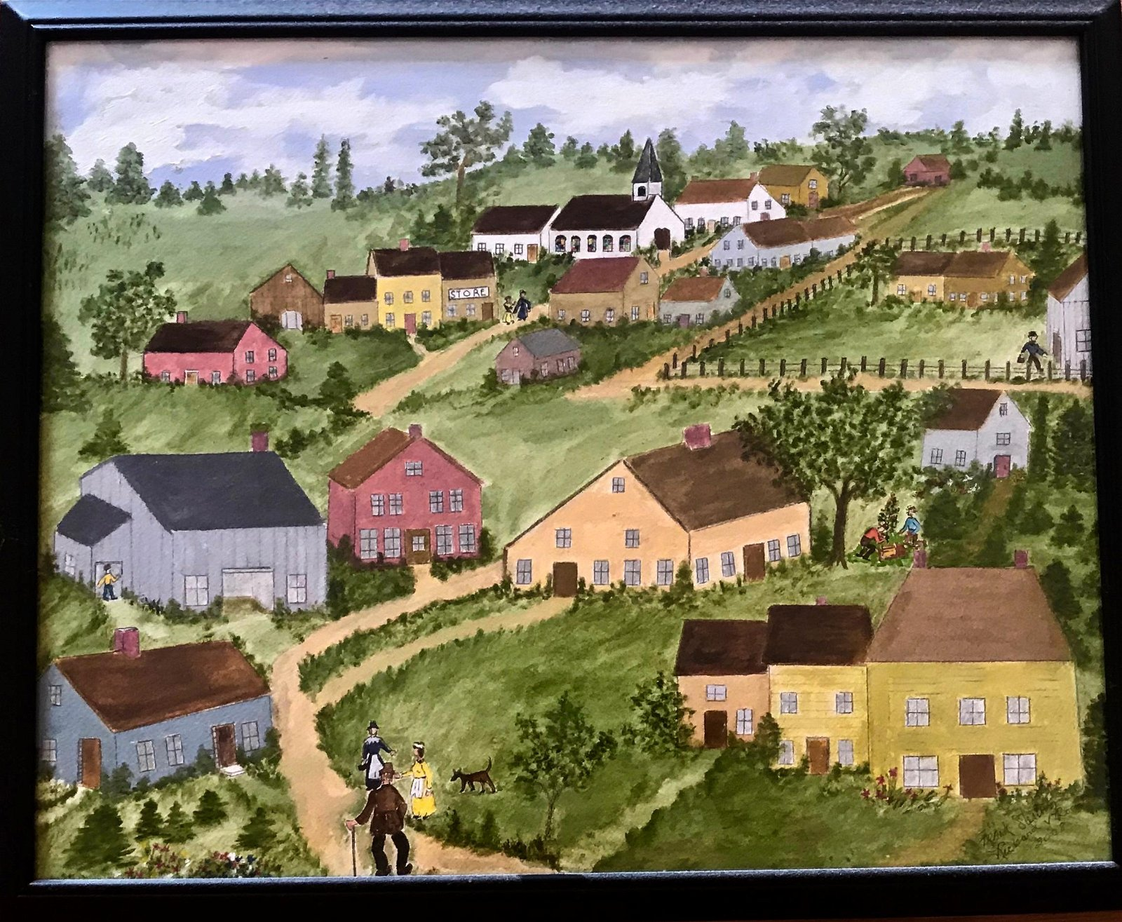 American Folk Art Country Village Painting, Signed