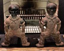 19th C. Pair of African-American Cast Iron Andirons
