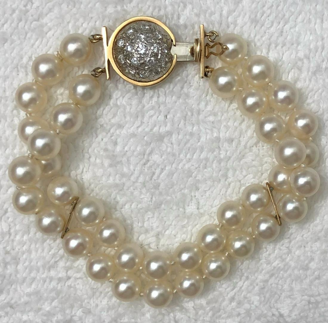 Estate 14k Pearl And Diamond Bracelet