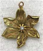Art Nouveau 14K Gold & Diamond Flower Pendant Brooch
