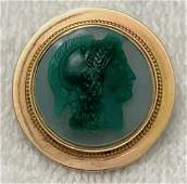 Victorian 14k Yellow Gold Cameo Brooch of HERMES