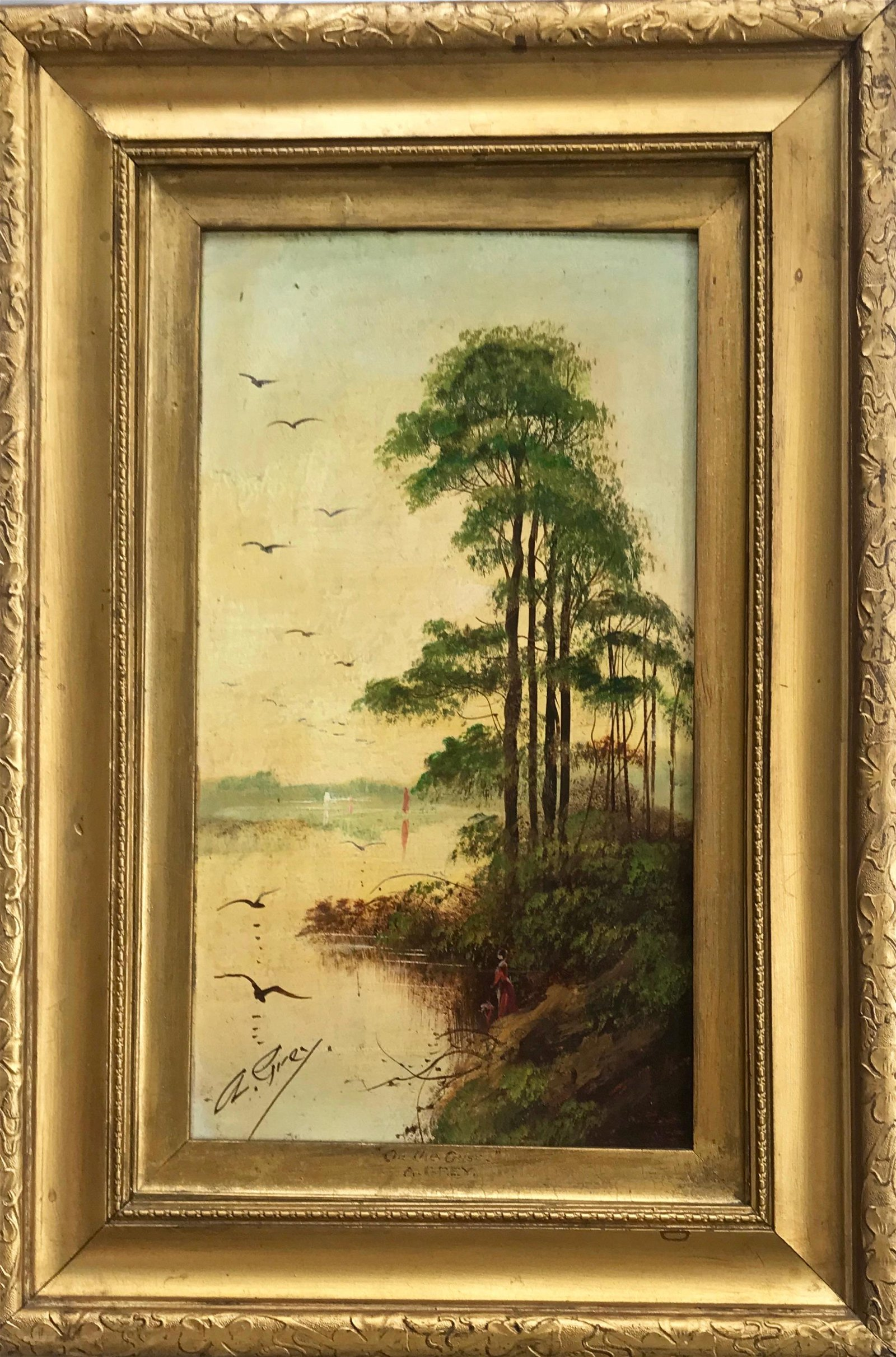 19th Century River Landscape Oil Painting, A Grey