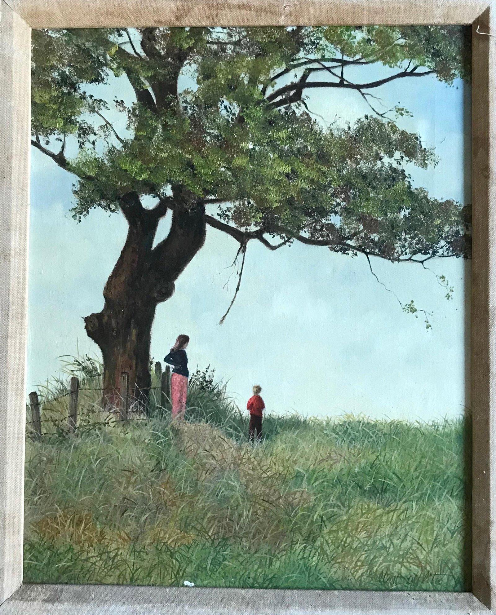 Mid-Century Landscape Oil Painting w/ Children,Signed
