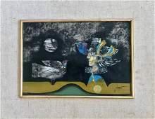 Modern Surreal Oil Painting L' OISEULA Pierre Jacquot