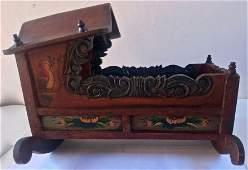 19th C. Folk Art Carved & Painted Hooded Rocker Cradle
