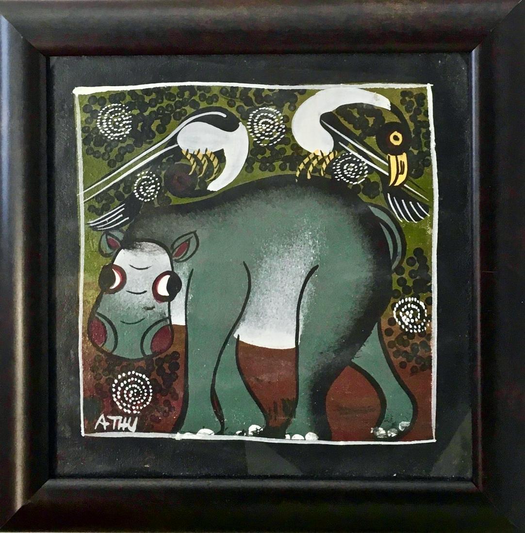 Tanzania Tinga-Tinga Painting HIPPO w/ BIRDS