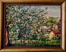 German Village Landscape Oil Painting, R.Schneider 1938