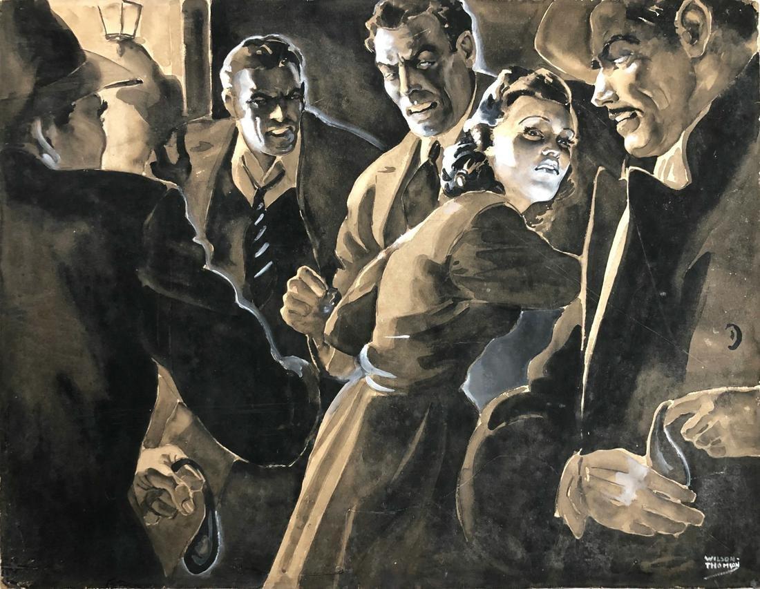 Pulp Art Crime Illustration Painting, W. Thomson 1940s