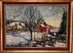 Winter Homestead Landscape Painting Rudy Schneider 1935
