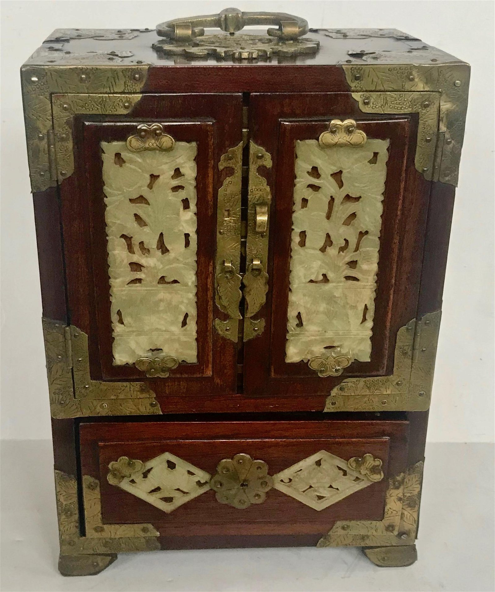 Antique Chinese Rosewood And Carved Jade Jewelry Box