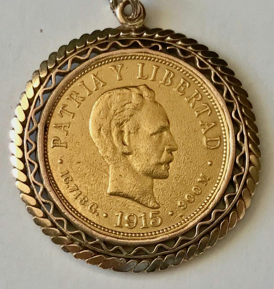 Cuba 1915 Gold Ten Pesos Coin Pendant Necklace