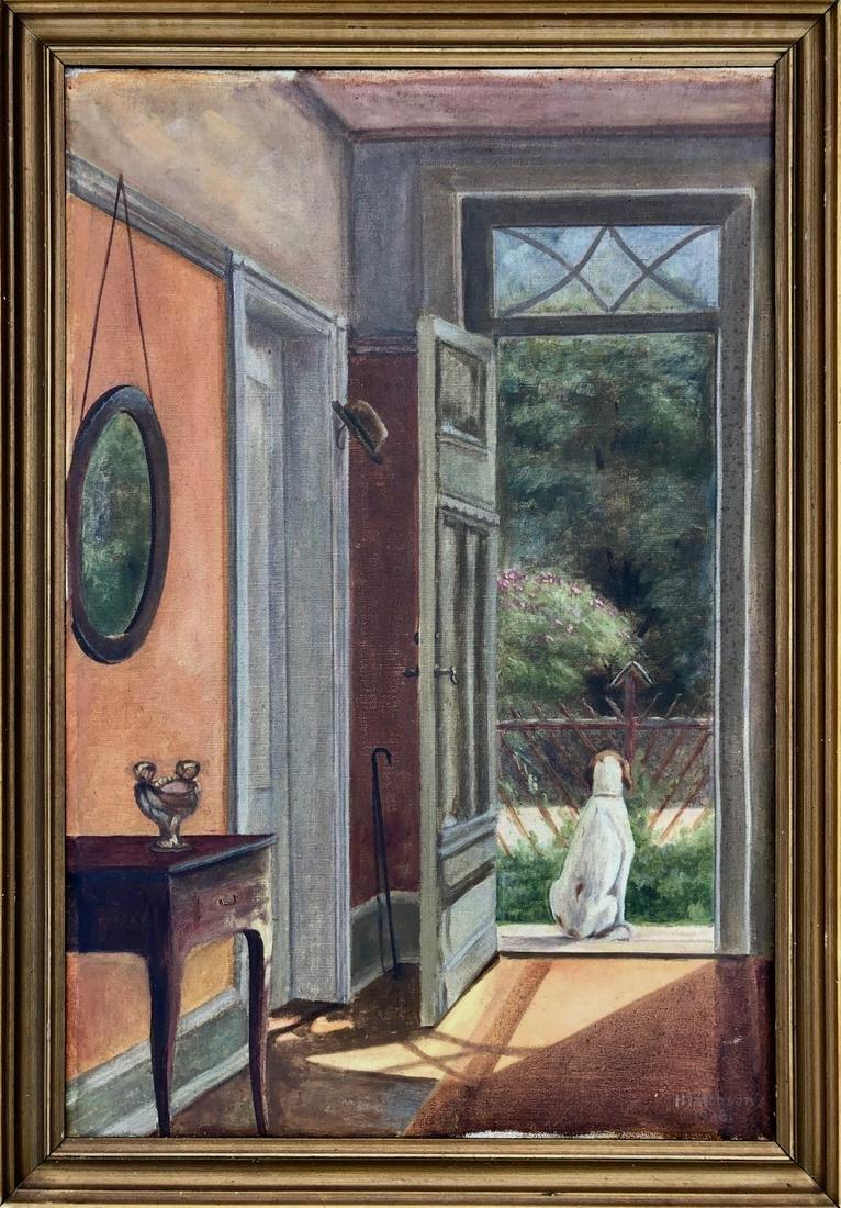 Patience MY BEST FRIEND Oil Painting  H.Jakobsen 1936