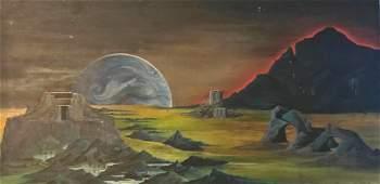 Sci-Fi Fantasy Solar Illustration Painting EARTH RISING