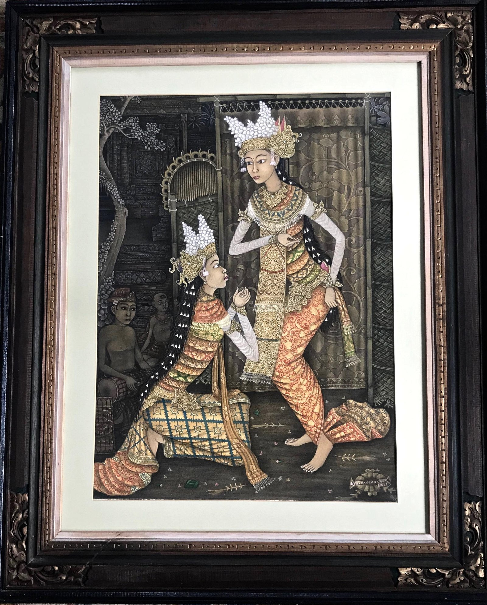 Balinese Traditional Ceremonial Painting, Signed