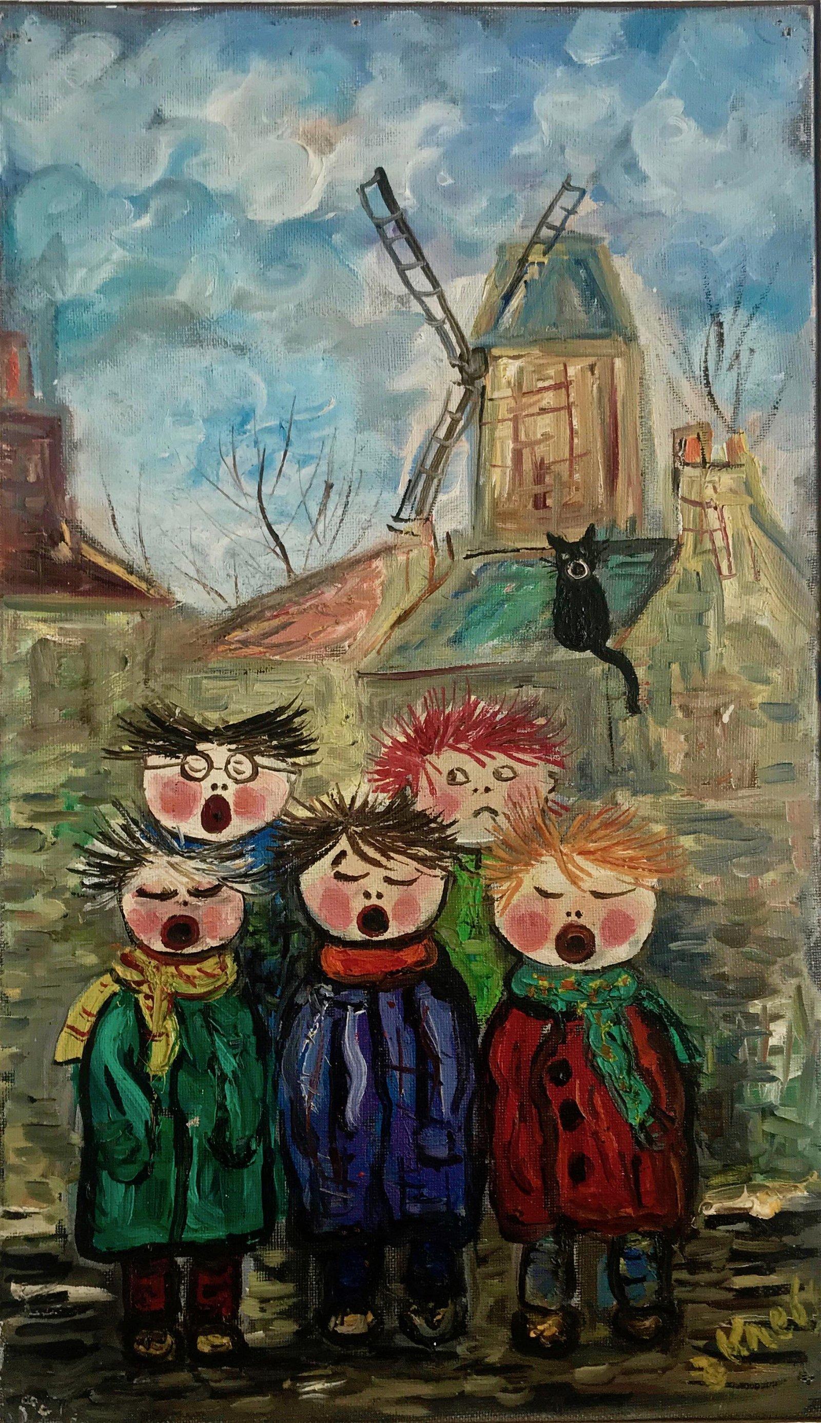 Jean Krebs Painting CHILDRENS CHOIR Paris,1960s