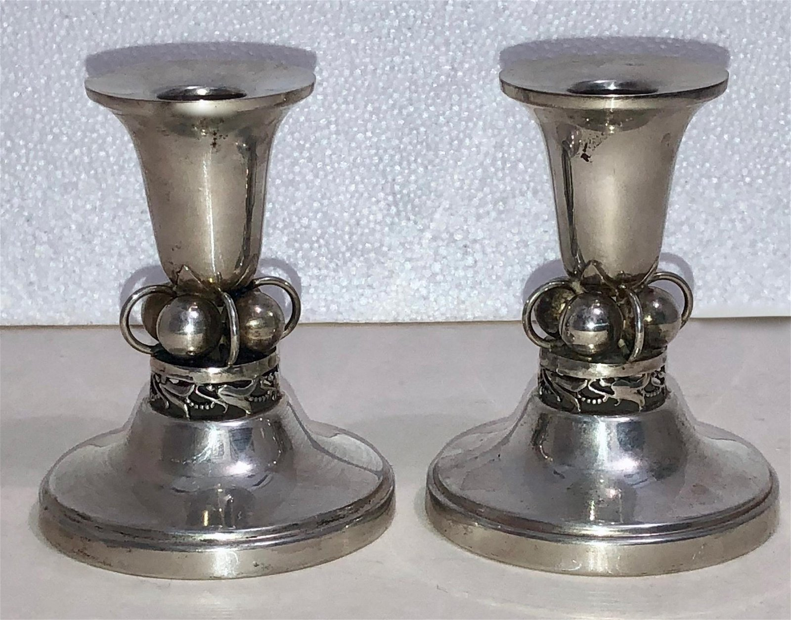 Pair of Modernist Sterling Silver Candlesticks