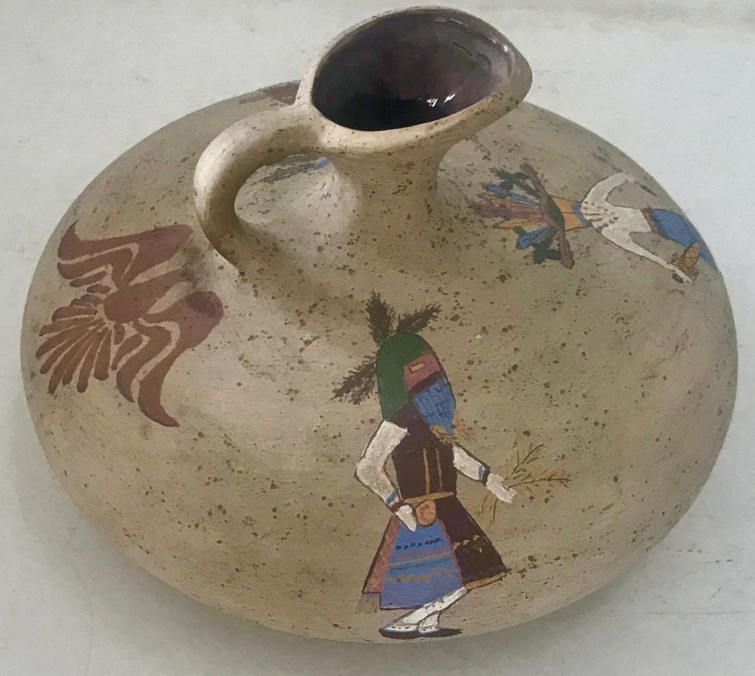 Native American Painted Kachina Pottery Vessel, Signed