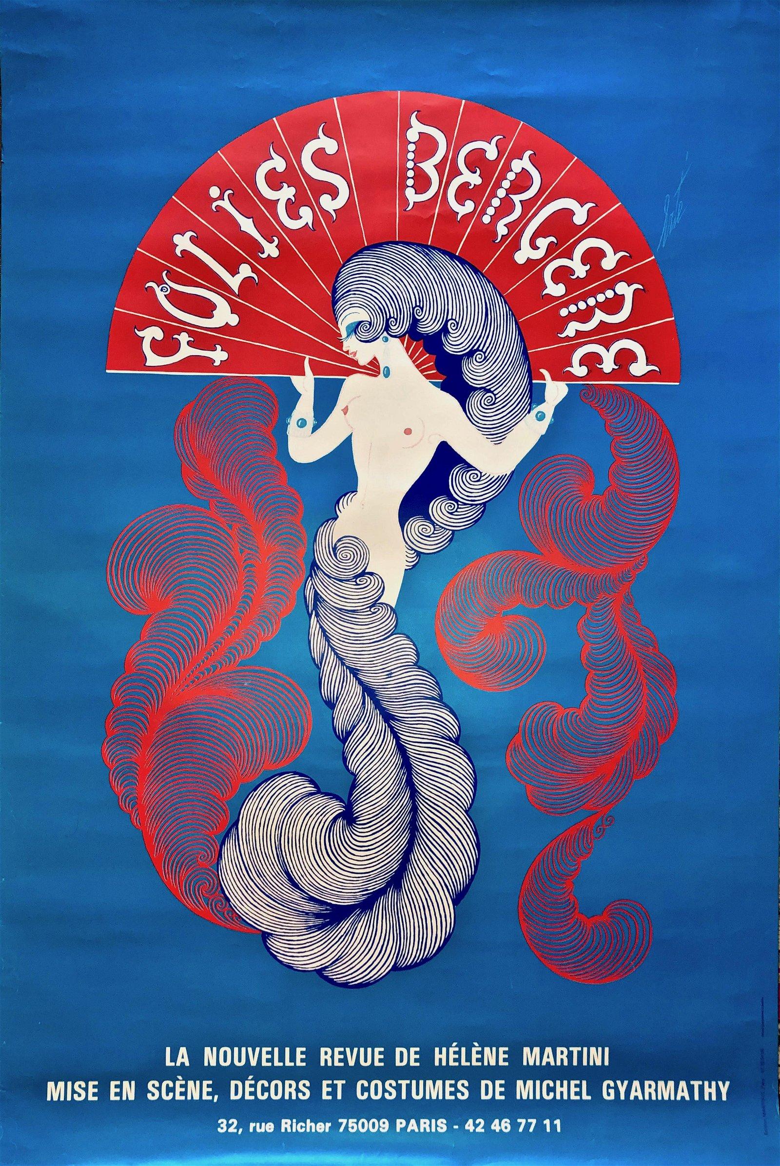 Folies Bergere Cabaret Advertising Poster, Erte 1970