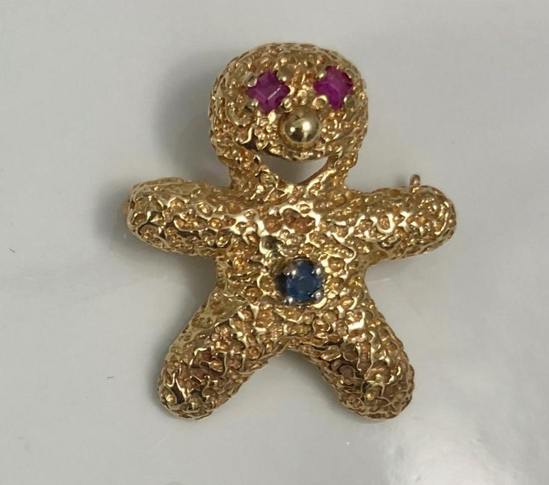 Peter Lindeman 14k Gold Bear Pendant w/ Ruby & Sapphire