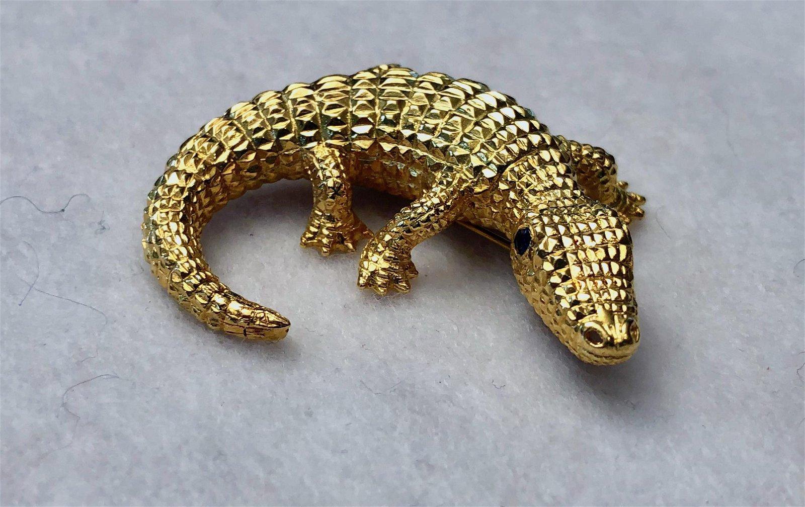18K Crocodile Alligator Brooch w/ Gem Set Eyes