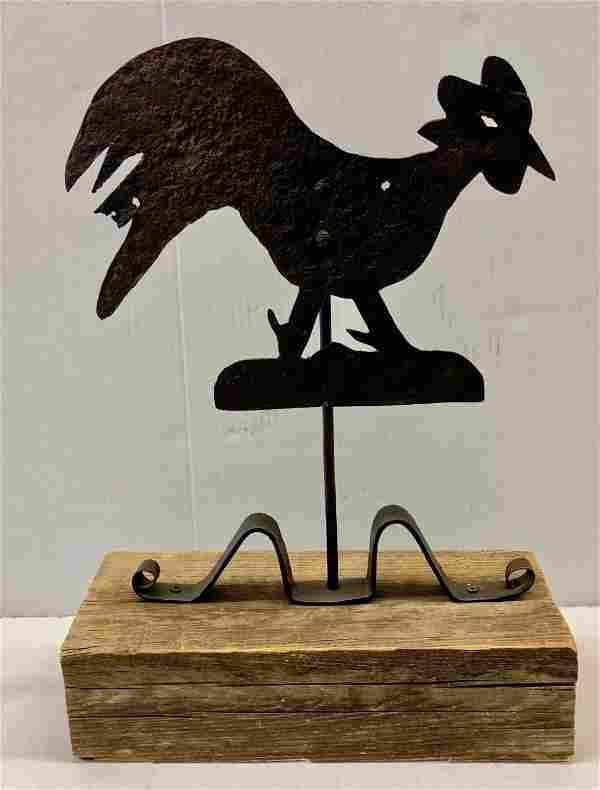 American Folk Art Sheet Metal Rooster Weathervane