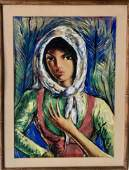 Victor Manuel Garcia (Cuba,1897-1969) Lady With Scarf