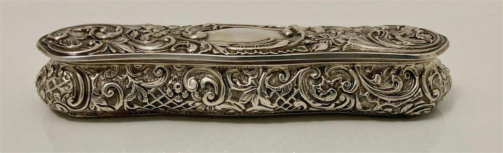 Antique Victorian Sterling Silver Repousse Box