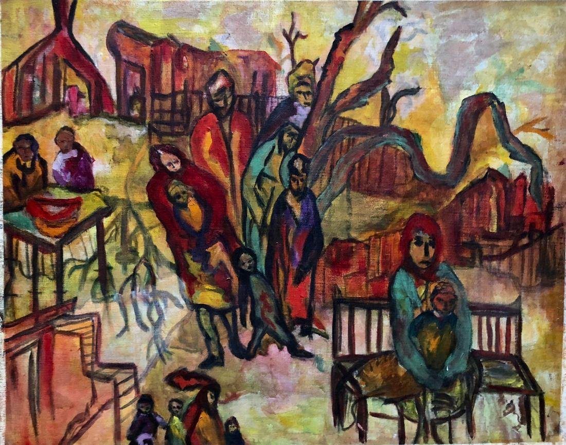 Russian Expressionist Village Painting WAITING