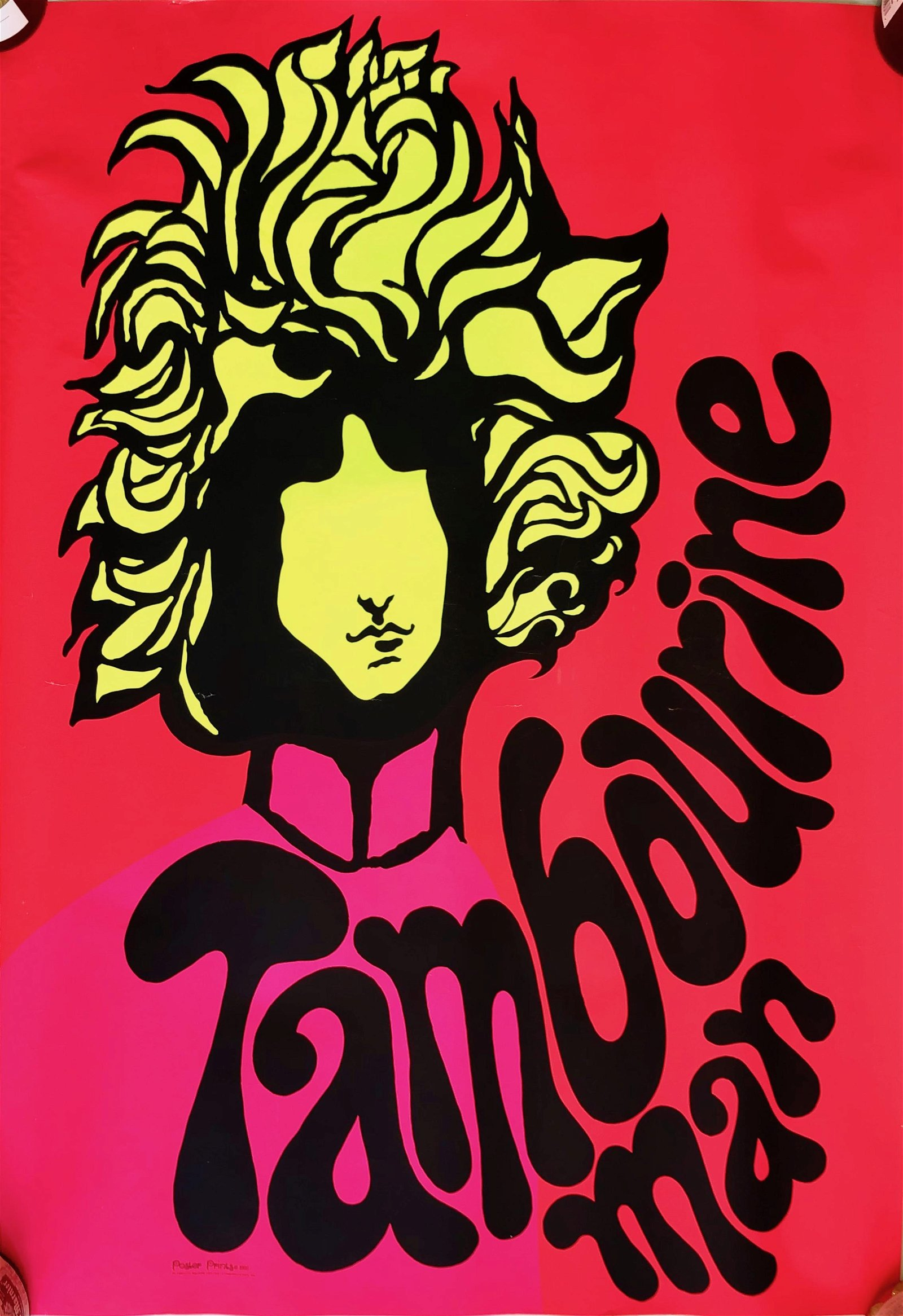DYLAN Tambourine Man Blacklight Poster, D. Shupe 1969