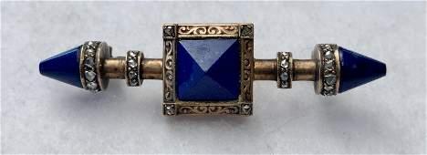 Victorian Gold, Lapis & Marcasite Brooch Pendant