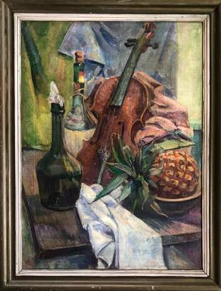 American Still Life Painting With Violin c.1940s