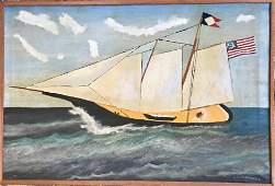 American School Folk Art Painting RACING YACHT Signed