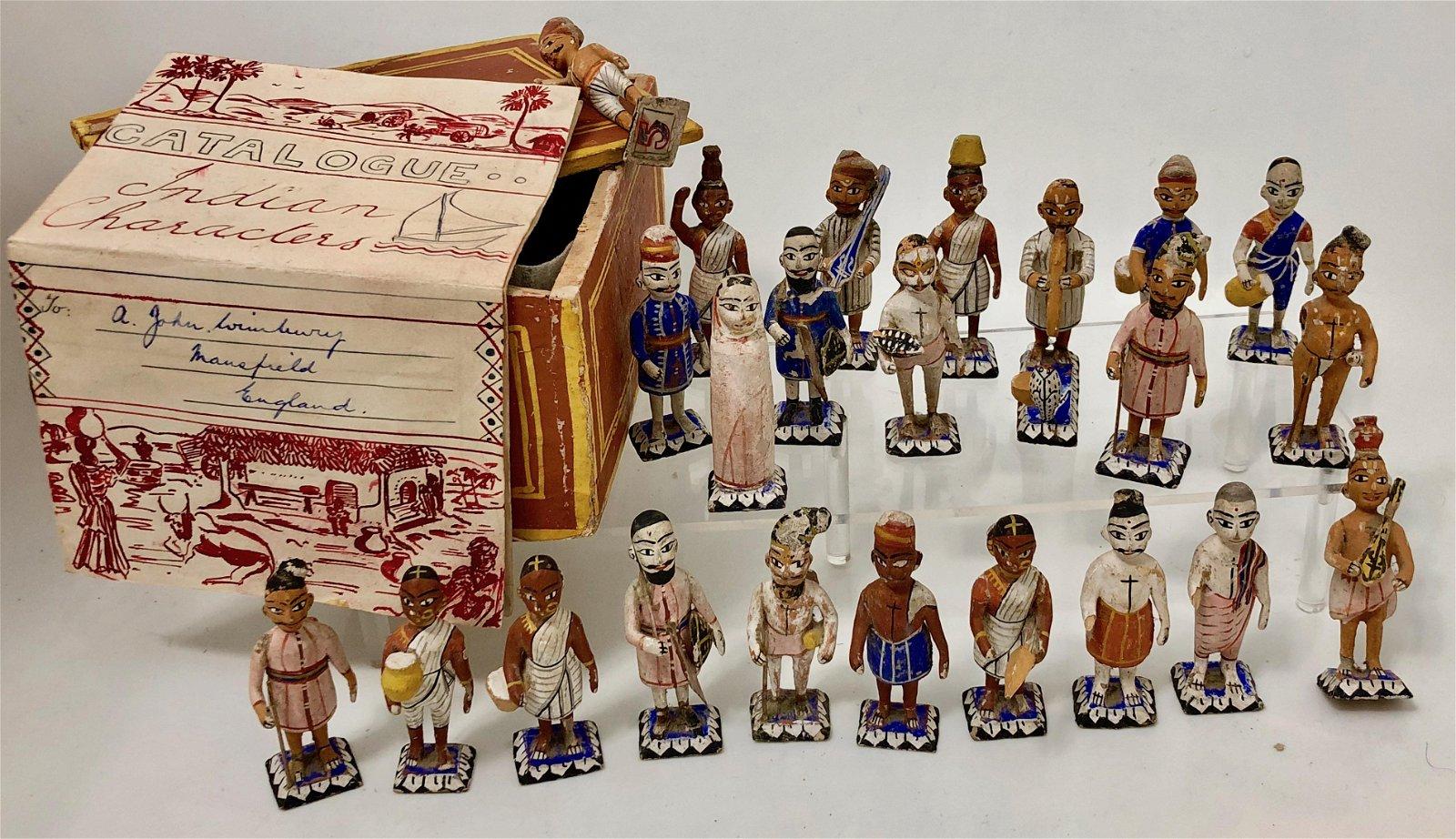 Folk Art Carved Miniature Wood Figures, India 1940s