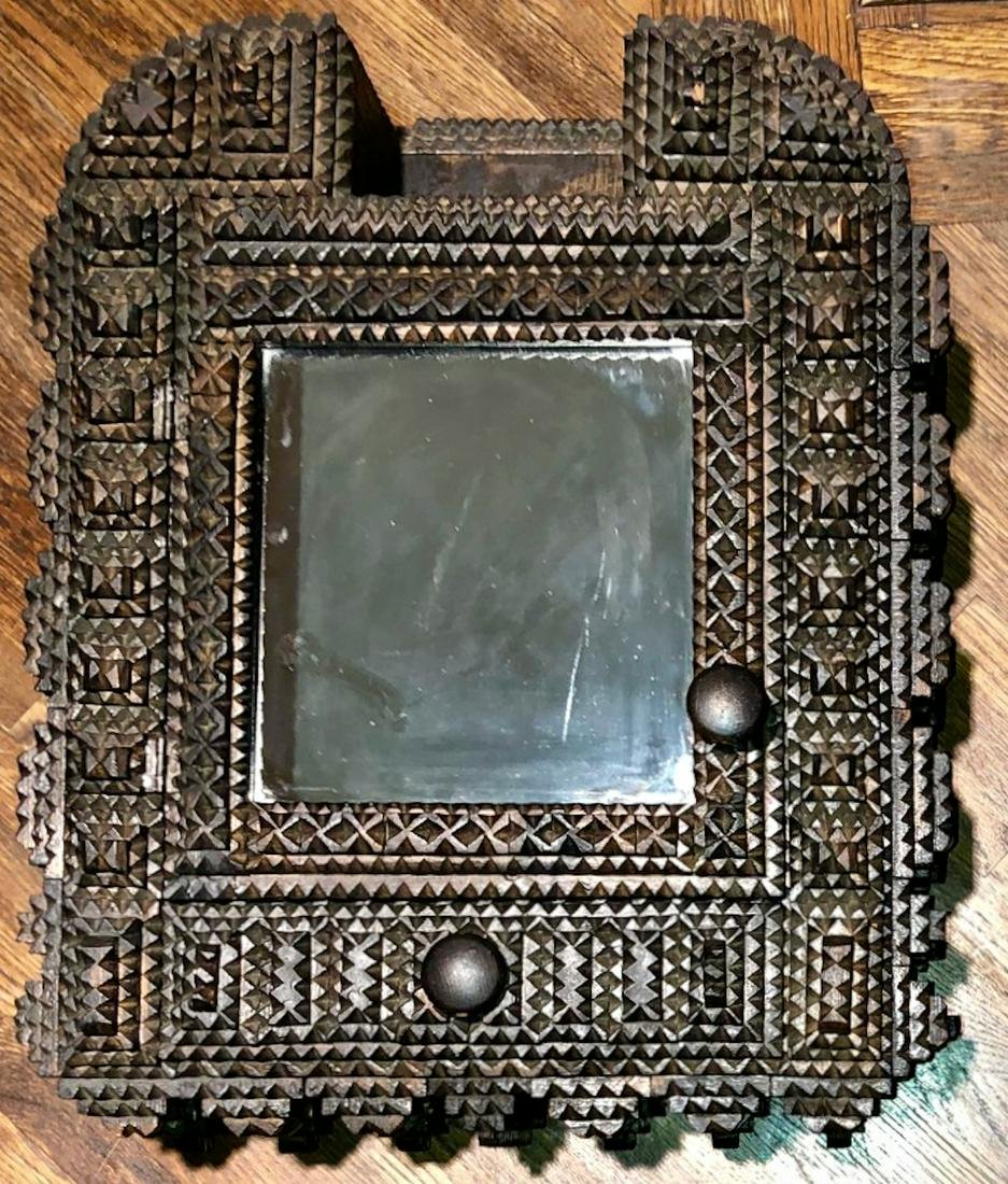 Tramp Art Notch Carved Mirrored Hanging Wall Cabinet