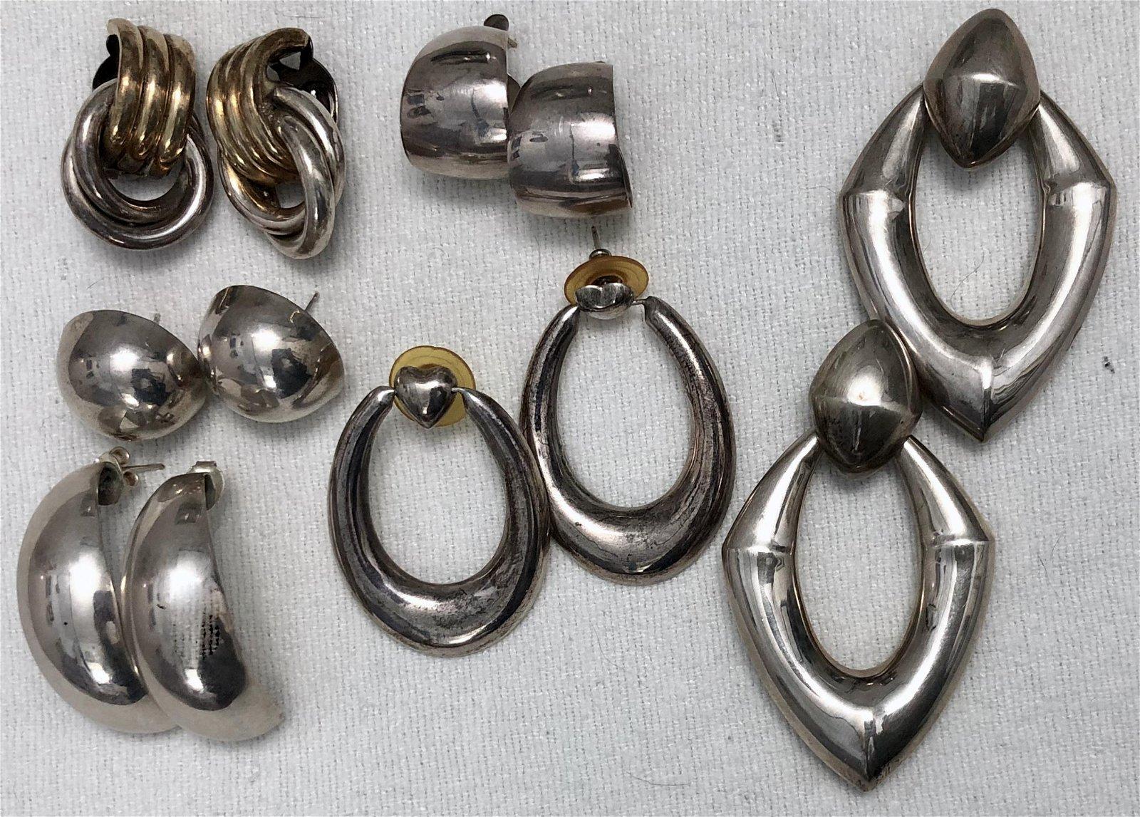 Sterling Silver Mexican & Modernist Earrings
