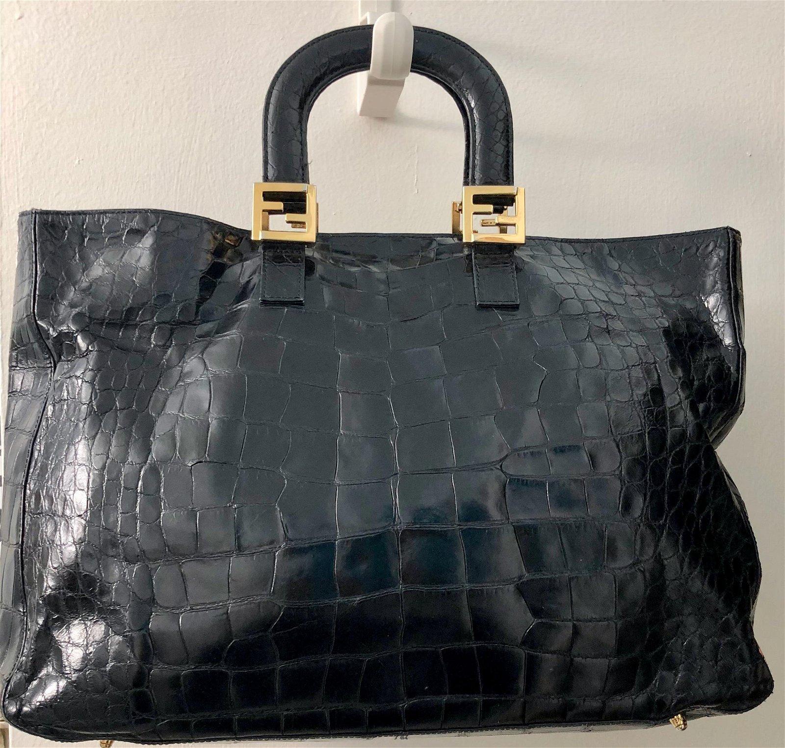 FENDI Crocodile Tote Bag w/ Gold Logo Hardware