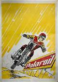 POLAROIL Motorcycle Motor Oil Advertisement Poster 1950